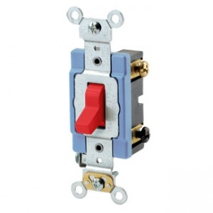 Extra Heavy Duty Spec Grade Leviton 1221-2R 20-Amp Red Self Grounding 120//277-Volt Toggle Single-Pole AC Quiet Switch